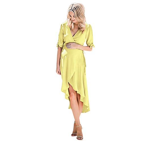 CCOOfhhc Women's Casual Maternity Dress Solid Short Sleeve Maxi Dress Waist Tie V Neck Irregular Hem Photography Dresses Yellow
