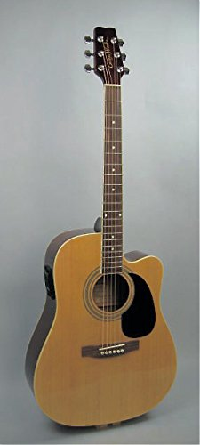 Guitar 6-String Steel String Dreadnaught Acoustic Electric With Onboard Active Electronics & Tuner Our GWD-620FCEN Natural Glossy Finish Includes A Heavy Duty Strap & Padded Travel Bag Case