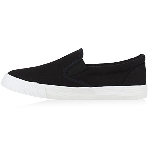 Stiefelparadies Damen Sneakers Slip-Ons Jeans Denim Metallic Slipper Flandell Schwarz Cabanas