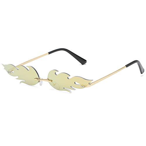 - Yucode Unisex Trendy Stylish Flame Shape Clear Lens Sunglasses Unbreakable Frame UV Protection Flat Lens Eyewear