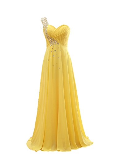 NOVIA Women's One Shoulder Long A-Line Chiffon Floor-Length Evening Formal Prom Dresses US 4 Yellow (Yellow Dresses For Women Evening)