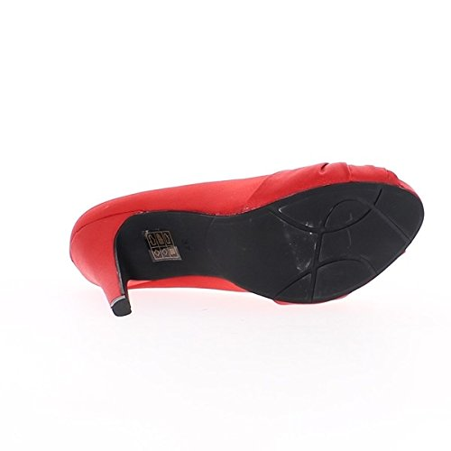 Scarpe rosse aperte raso tacchi 11 cm e mensola invisibile