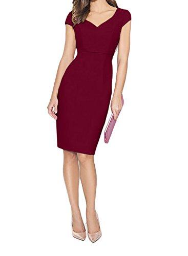 Damen Abendkleider Knielang Rosa Elegant Partykleider Etuikleider Kurzarm mit Ballkleider Burgundy Charmant IHxTqfT