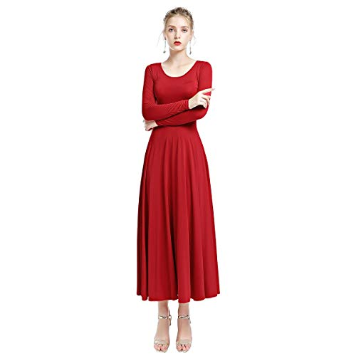 Adult Circle Skirt - OwlFay Women Solid Long Sleeve Full Length Loose Fit Swing Liturgical Dance Dress Prime Tunic Circle Skirts Red S