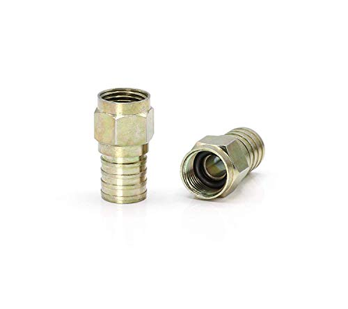THE CIMPLE CO - Coaxial Crimp Connector for RG6 Coaxial Cable. Includes O-Ring and Gel for Weather Proofing Seal, Indoor and Outdoor use. Also Known as a Radial Compression Connector. Pack of 10