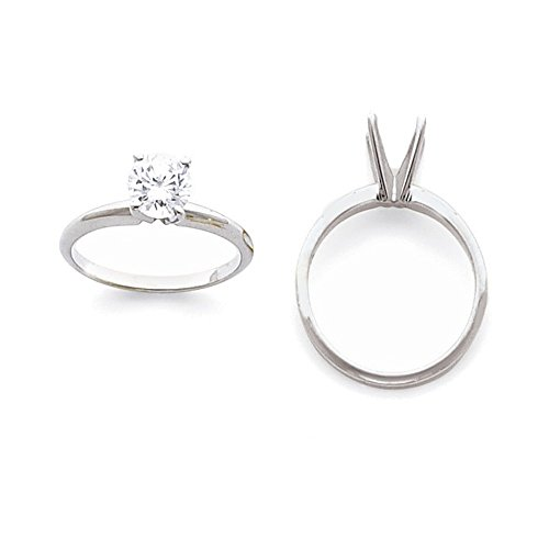 Jewelry Adviser Rings Platinum 2ct. Heavy-Weight 4-Prong Solitaire Ring Mounting Size 2