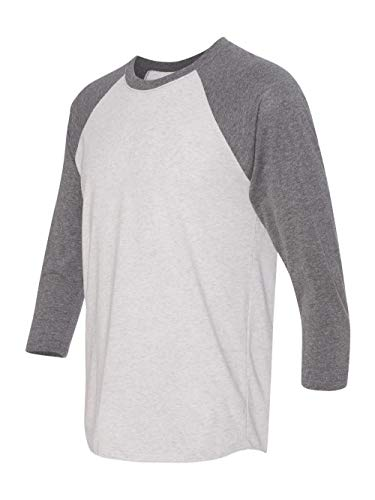 Next Level Apparel 6051 Unisex Tri-Blend 3 by 4 Sleeve Raglan - Premium Heather & Heather White44; Small