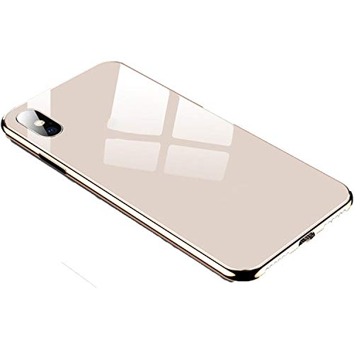 Plating Tempered Glass Phone Case for iPhone Xs Max XS XR X 8 7 Plus Cover Soft TPU Edge Cases for iPhone 6S 6 Plus Coque,Gold,for iPhone X ()