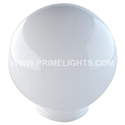 "PrimeLights 12"" White Round Plastic Post Top Globe - Outdoor Pole - 3.91"" Neck Fitter : Outdoor Post Light Accessories : Garden & Outdoor"
