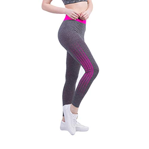 charmsamx Womens Elastically Yoga Pants High Waist Yoga Capri Leggings Squat Proof Workout 4 Way Stretch Leggings Tummy Control Trouser High Rise Sports Activewear, Pink, - 25 1 Inch Collection Light