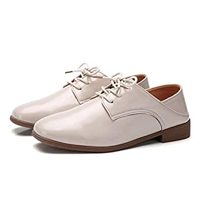 AUCDK Women Oxfords Leather Casual Flat Shoes Vintage Style Lace Up Casual Shoes Low Top Ladies Brogues Beige