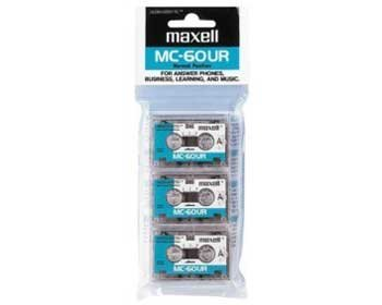 Maxell Microcassette BONUS 3-Pack (MODEL No. #MC-60UR) by Maxell