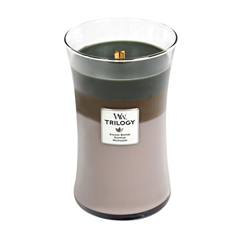 (WoodWick Trilogy Cozy Cabin, 3-in-1 Highly Scented Candle, Classic Hourglass Jar, Large 7-inch, 21.5)