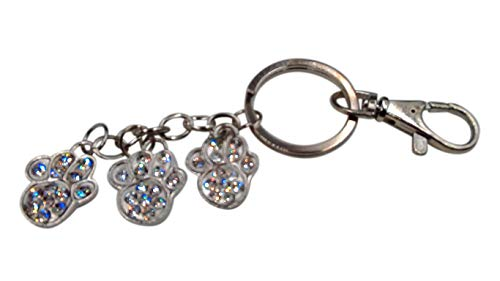 Paw Print Sparkling Rhinestone Key-Chain for Purse or Handbag or Cell Phone Pendant/Charm (5L x 1W, Clear Silver)