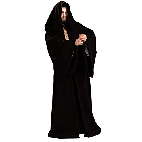 Halloween Costumes Black Robe (Quesera Men's Star Wars Jedi Tunic Robe Sith Cloak Adults Robe Halloween Costume, Black, TagsizeM=USsizeS)
