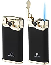 PIPITA Cigar Lighter Windproof Single Jet Flame Torch Lighter Butane Refillable Lighters (Without Gas), Gift Package