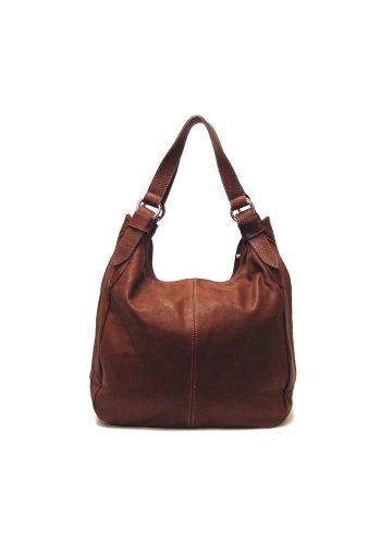 Siena Leather Hobo Shoulder Bag in Brown by Floto