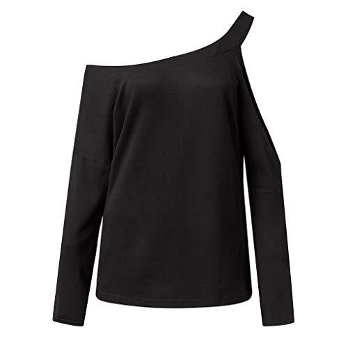 shirt Felpe Obliquo Camicetta Moda Sweatshirt Pullover Unita DonnaMagliette Anmain Maglietta Manica T Tinta Casuale Primavera Sportivi Tops Nero Lunga Colletto IYbyv6gmf7