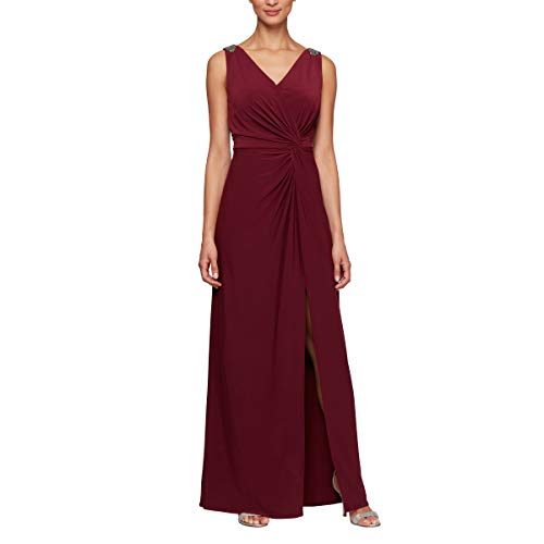 Alex Evenings Women's Long Dress with Knot Front Detail (Petite and Regular), Wine, 10