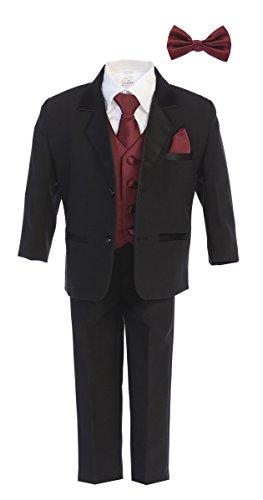 (Little Gents 7928 Boys Black Tuxedo Set w/Bow Tie & Necktie (5,)