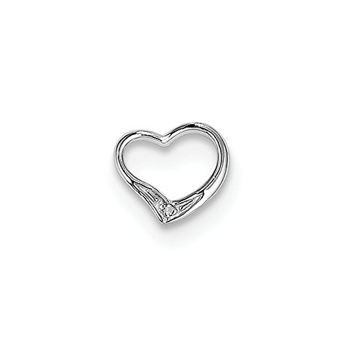 925 Sterling Silver Solid (.005cttw) Rhodium Diamond Floating Ladies Heart Pendant (10mm x 10mm) (Floating Solid Gold Diamond)