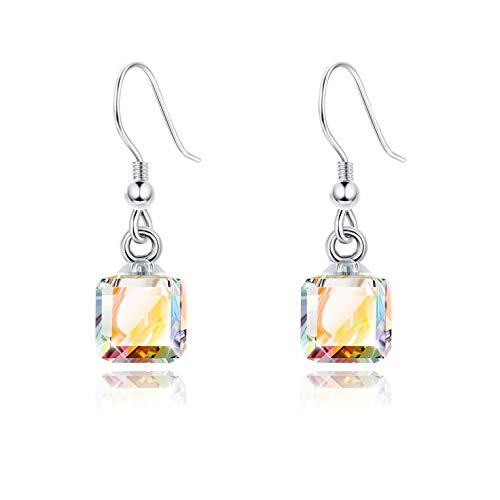 Sllaiss Aurora Crystal Dangle Earrings for Women, 8MM Square Swarovski Crystals from Swarovski, Fashion Jewelry Gift for - Earring Crystal Square