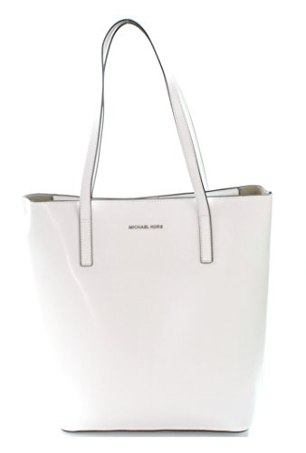 MICHAEL Michael Kors Emry Large North South Leather Tote in Optic White