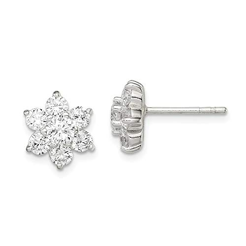 925 Sterling Silver Cubic Zirconia Cz Flower Post Stud Earrings Ball Button Gardening Fine Jewelry Gifts For Women For Her