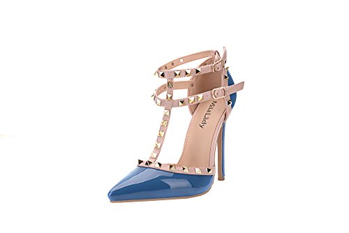 Mila Lady Strappy Stud With Platform ETHER08 Patent Blue Elegance Two Heeled Tone Ankle Shoes Pumps Lady XrPSwX