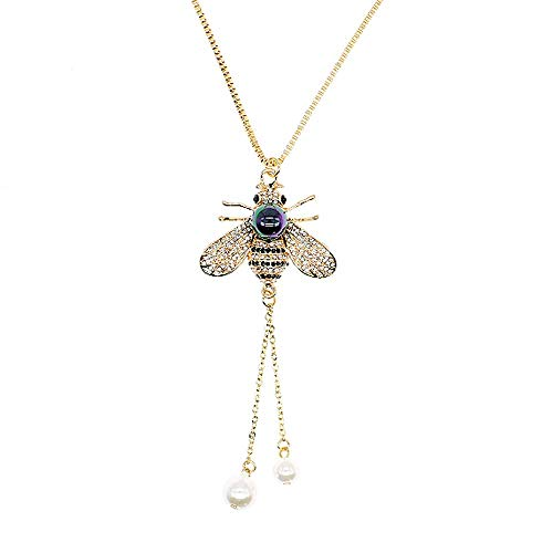 TULIP LY Honey Bee Necklace Crystal Insect Themed Bee Necklace Animal Fashion Shell Pearl Long Necklaces Gold Tone for Women Gril Jewelr (Multicolored Black Pearl Necklace)