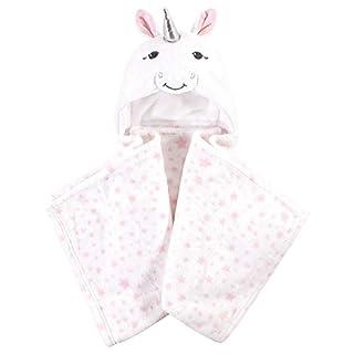 Hudson Baby Unisex Baby and Toddler Hooded Animal Face Plush Blanket, White Unicorn, One Size
