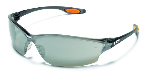 Clear Silver Mirror Lens (Crews LW217 Law 2 Safety Glasses Polycarbonate Silver Mirror Lens, 1 Pair)
