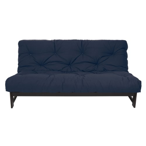 Mozaic Full Size 8-Inch Cotton Twill Gel Dual Memory Foam Futon Mattress, Navy