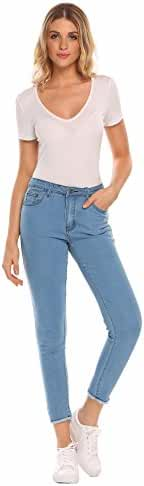Women's Mid Rise Stretchy 5 Pocket Ankle Skinny Jeans Denim Pants