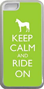 Rikki KnightTM Keep Calm and Ride On - Lime Green Color Design iPhone 5c Case Cover (Clear Rubber with bumper protection) for Apple iPhone 5c