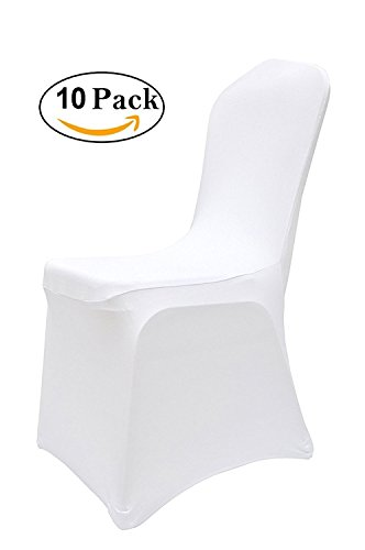 10pcs Chair Covers Slipcovers Spandex Wedding Banquet Party Anniversary Dining Chair Cover White (Covers Wedding White Chair)