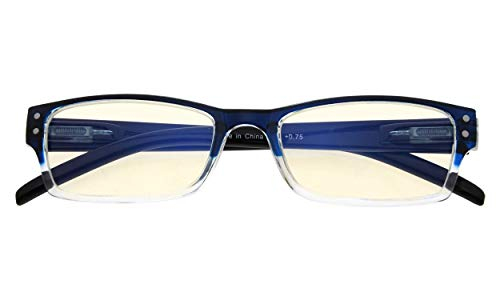- Reduces Eyestrain,Anti Blue Rays,Spring Hinge,Computer Reading Glasses Mens Womens(Blue-Clear,Amber Tinted Lens) +2.5