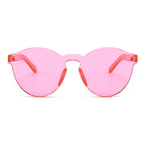 Armear Oversized One Piece Rimless Rose Tinted Sunglasses Clear Colored Lens -