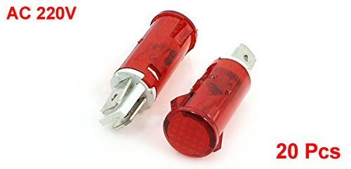 eDealMax CA 220V 2 Terminal de neón Rojo indicador de la lámpara Luces piloto DE 20 PC: Amazon.com: Industrial & Scientific