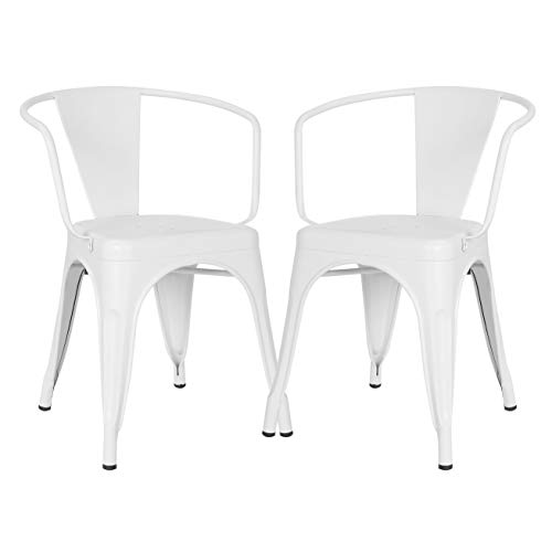 Poly and Bark Trattoria Arm Chair in White (Set of 2)