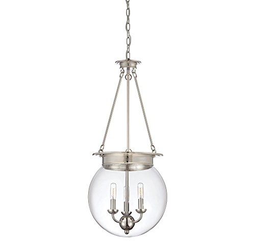 Savoy House Lighting 7-3301-3-109 Casual Lifestyles 3 Light Foyer Pendant and Clear Glass Shade, Polished Nickel Finish - Savoy House Foyers Ceiling Pendant
