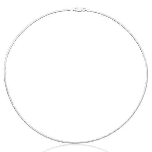 Omega Link Chain - 1mm thick solid sterling silver 925 Italian Omega snake link style chain necklace chocker with spring ring clasp jewelry - 12