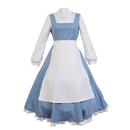 SIDNOR Beauty and The Beast Cosplay Costume Princess Belle Outfit Maid Dress Suit Ball Gowns (Small)]()