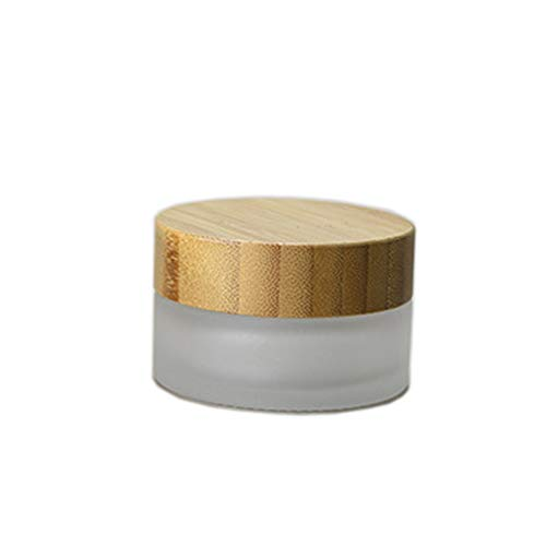 1 Pack 30ml /30g Frosted Glass Cream Jar Environmental Bamboo Lid Frosted Glass Bottle Cream Jar with Inner Liner Empty Cosmetic Comtainer Refillable