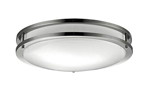 NICOR Lighting 18-Inch Cold Rolled Steel Surface Mount Ceiling Fixture with Frosted Acrylic Diffuser, Nickel Finish (30018-FL-NK) - Frosted Acrylic Diffuser