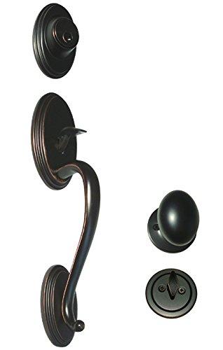Entry Handleset Oil - Dark Oil Rubbed Bronze Door Oval Egg Style Knob Entry / Privacy / Passage / Dummy / Deadbolt / Handleset 6093DBR (Front Door Handle Set Kwikset Keyway Keyed Alike)
