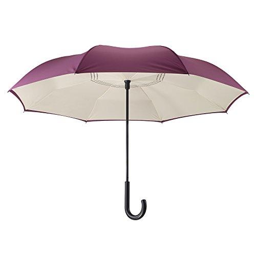 Umbrella Designed (Galleria's Reverse Close Umbrella, Purple/Cream…Uniquely designed inverted umbrella.)