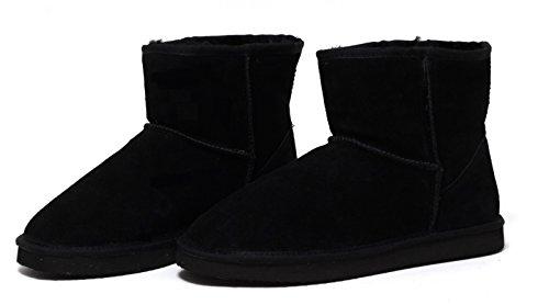 ZAPATO EUROPE ECHTES LAMMFELL UND LEDER Damen Winter Stiefel Boots Fellstiefel Kurzstiefel schwarz Gr. 38-41 WARM GEFÜTTERT