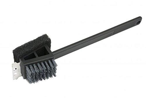 Charcoal Companion CC4151 Plastic Safe Scrub Grill Brush, 2-in-1 Long Handle, Black