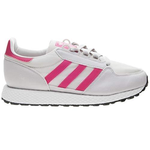 adidas Originals Unisex Forest Grove J Running Shoe, Chalk White/Real Pink/Grey one, 4.5 M US Big - White Chalk Apparel